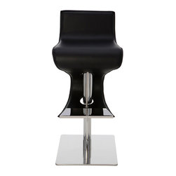 "Nuevo Living - Portland Adjustable Stool, Black, Set of 2 - The French would say this go-with-the-flow wavy stainless steel frame and leather wrapped stool has a certain je ne sais quoi. You might say it has the ""wow"" factor. Either way, this adjustable-height stool has IT and will bring it to your bar or kitchen counter."