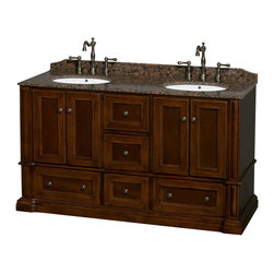 "Wyndham Collection - Rochester 60"" Cherry Double Vanity, Baltic Brown Granite Top, Drop-In Oval Sinks - Old world charm meets modern functionality with the Rochester line of traditional bathroom vanities. Designed to look great in any setting, from modest country home to palatial estate, the Rochester vanities will revive and renew your personal sanctuary. Natural stone tops give a touch of additional luxury and the antique bronze hardware adds the finishing touch. The down-to-the-floor base imparts a sense of weight and grandeur, while ample cupboard and drawer storage ensures the quality and practicality that the Wyndham Collection is known for."