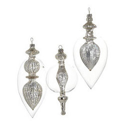 Modern Finial Ornaments - Set of 3 - New - We can't wait for you to see these lit up on your tree; it's the stuff that Christmas decorating dreams are made of. Delicate and upscale, these finials are the only final touch you'll need. We recommend hanging these near our Winter Wonderland Globes for a great contrast of shapes.