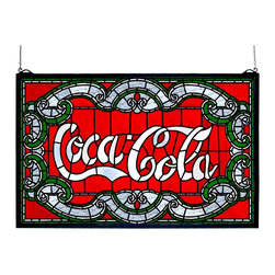 Meyda Tiffany - Meyda Tiffany Coca-Cola Victorian Stained Glass Tiffany Window X-532601 - True Victorian styling is accentuated by the elegant curvature of the Coca-Cola logo on this Meyda Tiffany Coca-Cola stained glass Tiffany window. The details and curvature are highlighted by the red, silver and green coloring while white lettering in the logo stands out proudly.