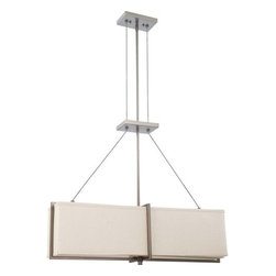 Nuvo Lighting - Nuvo Lighting 60/4485 Logan Four Light Square Pendant - Nuvo Lighting 60/4485 Logan Four Light Square Pendant with Khaki Fabric Shade, in Hazel Bronze FinishLogan is geometry illuminated. Crisp cubes and linear bars wrap this collection. This collection is finished in subtle tones of hazel Bronze with Khaki fabric shades or for a more vibrant appearance, select the Brushed Nickel finish with Slate Gray fabric shades. Nuvo Lighting 60/4485 Features: