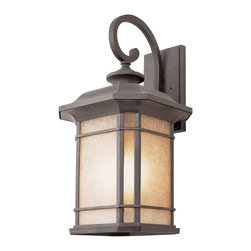 Trans Globe Lighting - Trans Globe Lighting Transitional Outdoor Wall Sconce X-TR 2285 - This Trans Globe Lighting Transitional Outdoor Wall Sconce is an impressive craftsman-style piece. You will definitely notice the design of the metal frame in a sleek, black finish, the gently scrolled arm and panels of tea stained linen glass. It's a handsome, 20-inch-tall piece with a little bit of flair and a lot of style.