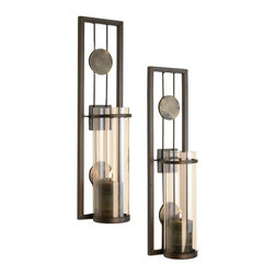 Danya B - Set of 2 Contemporary Iron Metal and Glass Wall Candle Sconce - This gorgeous Set of 2 Contemporary Iron Metal and Glass Wall Candle Sconce has the finest details and highest quality you will find anywhere! Set of 2 Contemporary Iron Metal and Glass Wall Candle Sconce is truly remarkable.