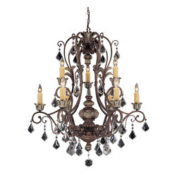 Savoy House - Elizabeth Nine Light Two Tier Chandelier - Savoy House's Elizabeth is a beautiful Versailles inspired crystal collection that with sparkling oversized crystal pendalogues and a rich New Tortoise Shell finish with Silver accents. Uses (9) 60 Watt candelabra base bulbs (not included) When you choose a Savoy House lighting fixture, you can be certain you've selected a piece that will withstand the test of time.