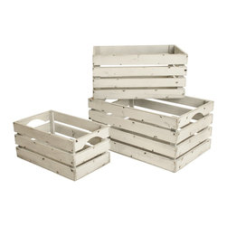 None - Whitewashed Distressed Storage Crates (Set of 3) - These boxes are a gardener's dream. Each flower will pop against the chic distressed white wash wood finish. Alternately,these boxes can be used for storage and decoration.