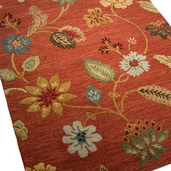 Jaipur - Garden Party Rug, Red, 5'x8' - Exuberant flowers dance across a field of textured rust or chocolate in this exquisite carpet. Hand-tufted in India from 100 percent New Zealand wool, the rug's playful design was inspired by ethnic textiles, but looks as fresh as a newly picked bouquet.