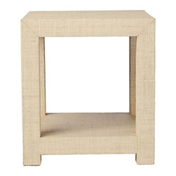 Blake Raffia Side Table, Natural - This sophisticated side table is one of my favorites. If you are a fan of square tables like I am, this one offers the kid-friendly feature of being wrapped in a softer woven raffia, offering a little bit of protection from those sharp corners.