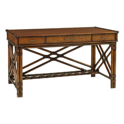Lexington - Tommy Bahama Home Bali Hai Enchanted Isle Desk - Offering exceptional detailing, this writing desk features woven raffia on all sides, leather wrapped decorative cross stretchers on the front and sides, and an optional box-of-drawers deck unit. The desk has three drawers with raffia fronts for storage. For additional storage, the Enchanted Isle box of drawers can be added which consists of four drawers and a decorative gallery of leather wrapped rattan.
