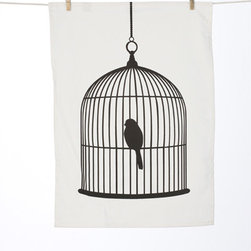Velo Tea Towel by Ferm Living - I don't love the idea of a real bird hanging in my kitchen, but this black and white dishtowel, I'll not only allow, but embrace.