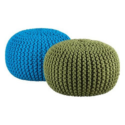 knitted camo pouf - knit one, purl two. Accent round layers on sweater in chunky hand-knit camo green. Dense pellet fill is substantial for seat/ottoman duty. 100% cotton cover.- Handknit beanbag chair/foot rest- Textured cotton weave- Spot clean- Made in India- See dimensions below
