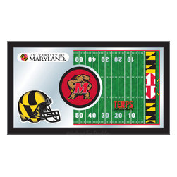 "Holland Bar Stool - Holland Bar Stool Maryland Football Mirror - Maryland Football Mirror belongs to College Collection by Holland Bar Stool The perfect way to show your school pride, our Football Mirror displays your school's symbols with a style that fits any setting.  With it's simple but elegant design, colors burst through the 1/8"" thick glass and are highlighted by the mirrored accents.  Framed with a black, 1 1/4 wrapped wood frame with saw tooth hangers, this 15""(H) x 26""(W) mirror is ideal for your office, garage, or any room of the house.  Whether purchasing as a gift for a recent grad, sports superfan, or for yourself, you can take satisfaction knowing you're buying a mirror that is proudly Made in the USA by Holland Bar Stool Company, Holland, MI.   Mirror (1)"