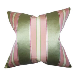 The Pillow Collection - Camber Stripes Pillow Pink - Stylish and pretty, this toss pillow adds a contemporary touch to your interior. This throw pillow is an ideal statement piece to add in your sofa, bed or chair. Order a few pieces of this stripe pillow which features a lovely color palette with shades of pink, green and white. Allow this accent pillow to add a visual appeal to your indoor space. Made of high-quality satin material.