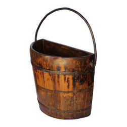 Antique Revival - Natural Knob Hill Wooden Half Bucket - A vintage, handcrafted water bucket, made into a half-barrel for your home. Great for hanging up on the wall and storing flowers, these vintage buckets will look great whichever room it is placed in. Great home decor piece, with an amazing design.