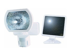 HEATHCO - Solar Motion Sensor Light White - For outdoor use. Easy installation, no wiring needed. Solar panel uses sunlight to charge the sealed lead acid, 6 volt, 5.0 Amp-Hour battery during the day. Pulse Count technology reduces false sensing from wind and rain. Photocell turns on light when mot  ion is detected, automatically turns light off after 30 seconds, keeps the light off during daylight hours. Battery protection circuitry prevents excessive overcharge and undercharge. When fully charged the solar light will operate a maximum of 15 days without sunlight. Actual operating time will vary depending upon how frequently the light is triggered. Range up to 60 feet, varies with surrounding temperature. Sensing angle up to 110 degrees, covers 3,400 square feet