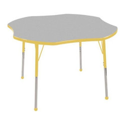 "Ecr4kids - Ecr4Kids Kids Adjustable Activity Table - Clover 48"" Elr-14101-Gye-Tb Yellow - Table tops feature stain-resistant and easy to clean laminate on both sides. Adjustable legs available in 3 different size ranges: Standard (19""-30""), Toddler (15""-23""), Chunky (15""-24""). Specify edge banding and leg color. Specify leg type."
