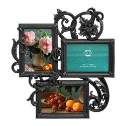 Prinz - Decoro Antique-Style 3 Picture Collage Frame (4x6), Black - Resin, hand painted and distressed finish.
