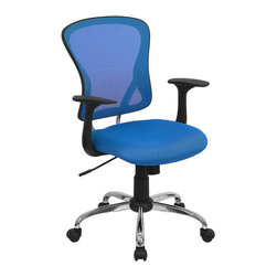Flash Furniture - Flash Furniture Mid-Back Blue Mesh Office Chair with Chrome Finished Base - Sporting a contemporary look and ergonomic design, this mesh covered office chair from Flash Furniture is perfect for any office setting, but is economically priced to be affordable for most home office users. Featuring an open mesh back with passive lumbar support, a thickly padded mesh covered seat, and a chrome finished base, this chair is sure to be an attractive and comfortable addition to any setting.