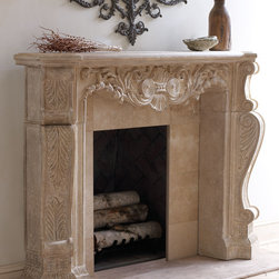 """Horchow - Stone Scroll Mantel - Stone Scroll MantelDetailsMantel made of crushed stone/polyresin/styrene/fiberglass.Hand-painted aged limestone lacquer finish. Includes mounting hardware. Do not use corrosive chemicals to clean. Safe for outdoor covered patios. 70""""W x 13""""D x 50""""T with 47""""W x 10""""D x 40""""T opening. Imported.Weight 118 lbs. Boxed weight approximately 201 lbs. Please note that this item may require additional shipping charges.Like a wood mantel this stone/resin mantel should not come into direct contact with flames. An appropriate buffer or setback typically granite marble slate or some other non-combustible material should be placed between the firebox and the mantel. Check your local building code requirements to ensure your fireplace is in compliance.Mantel must be securely mounted to wall for stability; professional installation is strongly recommended. Some assembly required; includes mounting hardware and instructions. Depending on wall material special tools may be required for assembly.Why we choose manmade materials.Today's composite casting materials offer an unparalleled value for outdoor decorating:Great looks. They can be textured and finished to perfectly replicate a variety of natural materials at a significantly lower price.Mobility. Substantial enough to stand up to wind and weather yet at approximately one-fourth the weight of cement or stone can be easily relocated for changes in landscape or design preference.Easy care. Not susceptible to mold mildew or other problems common to natural materials."""