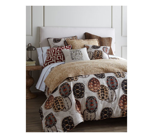 """French Laundry Home - French Laundry Home """"Tortoise"""" Pillow (matches duvet cover), 20""""Sq. - These intriguing bed linens are just as perfect for a guest room as they are for a kid's room. From French Laundry Home. Dry clean. All imported unless otherwise stated below. Linens printed with tortoise shells are linen/cotton blend. Duvet covers hav..."""