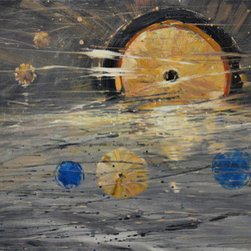 Cosmic Sun (Original) By Kanayo Ede - This is an abstract painting of the solar system with a central sun surrounded by golden and aqua blue planets with a lot of cosmic dust and flares all in a dance in an open grey space. This is a gallery wrap canvas which means the sides are painted. Ready to hang right out of the box. The surface of this painting is coated with high gloss epoxy which brings it to almost a glass like luster. Epoxy coating is 60 times more glossy than a normal gloss coating.