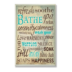 Stupell Industries - Bathe Wash Your Worries Typography Bath Plaque - Made in USA. Ready for Hanging. Hand Finished and Original Artwork. No Assembly Required. 15 in L x 0.5 in W x 10 in H (2 lbs.)Point your guests in the right direction with elegant bathroom plaque. This decorative wall plaque is crafted of sturdy fiberboard with hand-finished coved borders, each plaque comes with a sawtooth hanger for easy installation on bathroom doors or walls.