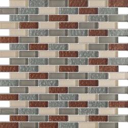 Vintrav Sienna & Grey 1/2 in. x 2 in. Glass Mosaic Tiles, Sample - Vintrav Sienna & Grey 1/2 in. x 2 in. Glass Mosaic Tiles for Bathroom Floor, Kitchen Backsplash, unmatched quality.