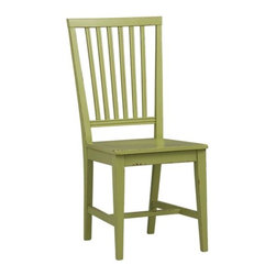 Village Foglie Green Side Chair and Stripe Cushion - I love the sturdy look of this charming side chair, especially in this unexpected shade of green.