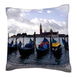 Custom Photo Factory - Gondolas, Venice, Italy   Polyester Velour Throw Pillow - Gondolas, Venice, Italy  18 x 18 Inches  Made in Los Angeles, CA, Set includes: One (1) pillow. Pattern: Full color dye sublimation art print. Cover closure: Concealed zipper. Cover materials: 100-percent polyester velour. Fill materials: Non-allergenic 100-percent polyester. Pillow shape: Square. Dimensions: 18.45 inches wide x 18.45 inches long. Care instructions: Machine washable