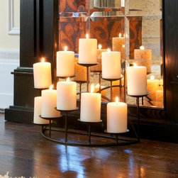 Hanover 10-Candle Candelabra - Some folks have a non-working fireplace, but that doesn't mean it can't be cozy and create the feel of warmth. This fireplace candelabra gives you instant flame with the illusion of a fire.