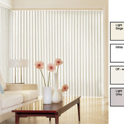 ZNL - Solid Vinyl Vertical Blinds (58 in. W x Custom Length) - Transform your room by updating it with these simple solid vinyl vertical blinds. They measure 58' wide,but they can be customized to whatever length you wish,from 192' long to shorter. These blinds are available in grey,white,off white,and beige.