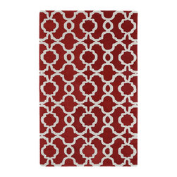 Kaleen - Kaleen Revolution REV03 25 Red Rug - 3 ft x 5 ft - Kaleen Revolution REV03 25 Red Area Rug - The color Revolution is here! Trendy patterns with a fashion forward twist of the hottest color combinations in a rug collection today. Transform a room with the complete color makeover you were hoping for and leaving your friends jealous at the same time! Each rug is hand-tufted and hand-carved for added texture in India, with a 100% soft luxurious wool.
