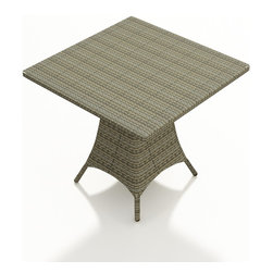 "Forever Patio - Hampton Modern Patio 36 in. Square Pub Table, Heather Wicker - The Forever Patio Hampton 36"" Square Pub Table (SKU FP-HAM-36SPT-HT) creates a casual drinking and dining setting without sacrificing style. The UV-protected, heather wicker sports a flat woven design, creating a contemporary look with clean lines. Each strand of this outdoor wicker is made from High-Density Polyethylene (HDPE) and is infused with its rich color and UV-inhibitors that prevent cracking, chipping and fading ordinarily caused by sunlight. This outdoor dining table is supported by thick-gauged, powder-coated aluminum frames that make it more durable than natural rattan. A tempered glass top is included with this table, adding a touch of modern style to your outdoor dining table."