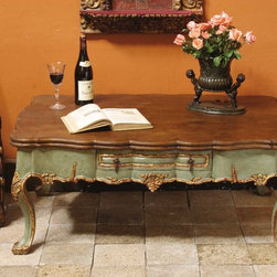 """Polychromed & gilt cabriole leg Spanish colonial coffee table - BC-OTBL-02-COFFEE: This stunning hand-crafted Spanish colonial coffee table measures 45"""" L x 30"""" D x 20"""" H, and is based on an 18th century table from Peru."""