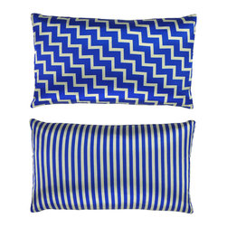 """NECTARmodern - Stairs and Stripes (blue) geometric chevron throw pillow 20"""" x 12"""" - It's like two pillows in one for your favorite setting. This soft, smooth satin number features a diagonal zigzag design and flips over to equally stylish stripes."""