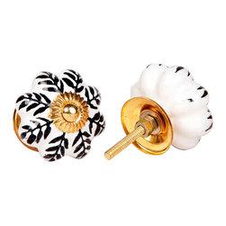 MarktSq - Melon Shaped Ceramic Knobs (Set of 4) - Beautifully painted melon shaped knob with elegant black pattern and golden hardware