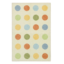 Mohawk Home - Mohawk Woodgrain Slumber Ivory Modern Dots 5' x 7' Rug (11203) - This area rug features a whimsical polka dot design and soft, durable fibers. The natural field is highlighted with shades of baby blue, light yellow and muted orange. Printed on the same machines that manufacture one of the world
