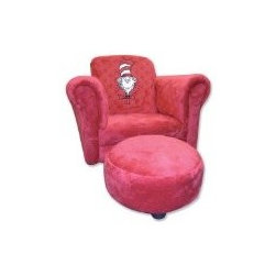 Trend Lab Dr. Seuss Velour Cat In The Hat Chair and Ottoman, Red - It's cushy, it's red, it's for your rear — not your head. OK, so my Dr. Seuss impression is lacking, but this is still an awesome chair.