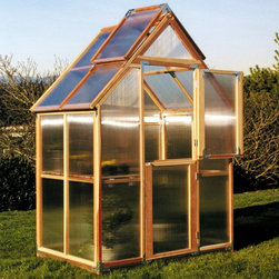 Sunshine - Sunshine Mt. Hood 6 x 4 Foot Greenhouse Kit - MRY019 - Shop for Greenhouses from Hayneedle.com! Additional FeaturesDoor measures 28W x 78H inchesPeak height measures 8.4 feetComes with 4-feet of wood stagingStaging runs the length of the greenhouseStaging gives you versatility and more planting spaceIncludes a 12L x 12H foot shade coverCools your greenhouse up to 15 degreesReduces the amount of sunlight aiding in plant growthCan double as a windscreen in the colder monthsDoes not take long to assembleIncludes printed instructions and an assembly videoComes with a 5-year warrantyEven if you have limited space theSunshine Mt. Hood 6 x 4-Foot Greenhouse has a narrow design that allows it to fit into small areas so you can grow your own fresh fruits vegetables and plants. It also includes 4-feet of wood staging to increase your growing space. The wood staging can also double as a work area. Made with two vents with automatic openers and Dutch doors you can be sure that there will be plenty of air circulation to help keep your plants healthy. The Dutch doors which also help you to keep small animals out as well as the base are made from recycled plastic. The included shade cover gives you greater control over the climate of your greenhouse and can double as a windscreen in colder weather. Crafted from beautiful natural and sturdy redwood the preassembled panels are made from twin polycarbonate which helps to protect your plants. The greenhouse measures 4L x 6W x 8.4H feet and comes with printed instructions as well an assembly video.