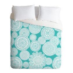DENY Designs - Heather Dutton Delightful Doilies Tiffany Duvet Cover - Turn your basic, boring down comforter into the super stylish focal point of your bedroom. Our Luxe Duvet is made from a heavy-weight luxurious woven polyester with a 50% cotton/50% polyester cream bottom. It also includes a hidden zipper with interior corner ties to secure your comforter. it's comfy, fade-resistant, and custom printed for each and every customer.