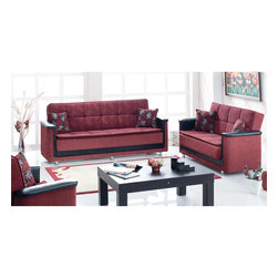 None - Lake Ave Sofabed - This convertible sofa bed by Lake Ave intertwines convenience with elegance and style. Featuring a luxurious cardinal red hue with matching patterns, a storage compartment, and a leather finish, this sofa bed offers great quality with practicality.