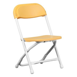 Flash Furniture - Kids Yellow Plastic Folding Chair - Provide kids with seating that was specifically designed for them and can be stored away when no longer in use. This plastic folding chair will make an exciting addition to any classroom, daycare center or in the home. The lightweight design makes it ideal for the child to easily transport and setup for group activities, reading and other learning groupings.