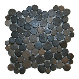 "CNK Tile - Glazed Grey Moon Mosaic Tile - Each stone is carefully selected and hand-sorted according to color, size and shape in order to ensure the highest quality pebble tile available.  The stones are attached to a sturdy mesh backing using non-toxic, environmentally safe glue.  Because of the unique pattern in which our tile is created they fit together seamlessly when installed so you can't tell where one tile ends and the next begins!     Usage:    Shower floor, bathroom floor, general flooring, backsplashes, swimming pools, patios, fireplaces and more.  Interior & exterior. Commercial & residential.     Details:    Sheet Backing: Mesh   Sheet Dimensions: 12"" x 12""   Pebble size: Approx 3/4"" to 2 1/2""   Thickness: Approx 3/8""   Finish: Glazed Grey"