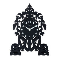 Maple's Clock - Black Silhouette Metal Table Clock - - All metal  - Double deck structure  - Cathedral themed silhouette  - Conspicuous numbers & hands  - Battery - 1AA (Not Included) Maple's Clock - MT003