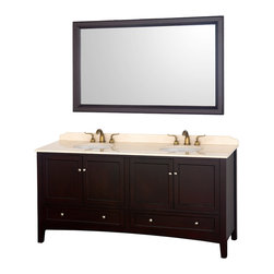 "Wyndham - Audrey 72"" Double Bathroom Vanity Set - Espresso - The Audrey double vanity and mirror combines the best of contemporary and transitional style with practicality, to create a timeless piece of bathroom furniture.; The Audrey is available in an espresso finish with brushed nickel hardware, soft-close door hinges, Ivory Marble or White Carrera Marble countertops and white porcelain sinks. The matching mirror completes the look, for a vanity as beautiful years from now as it is today.; Constructed of solid, environmentally friendly, zero emissions wood and veneers, engineered to prevent warping and last a lifetime; Soft-close door hinges; Includes matching mirror; Includes white porcelain undermount sinks; Ivory marble counter; Pre-drilled for 8"" widespread faucets; Faucets not included ; Dimensions: Vanity 72-1/4 x 22-1/4 x 35-1/2; Mirror 60 x 36 x 1-1/2"