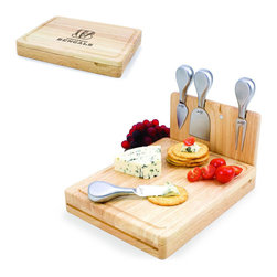 Picnic Time - Cincinnati Bengals Asiago Folding Cutting Board With Tools in Natural Wood - The Asiago is a folding cutting board with tools that is another Picnic Time original design. This compact, fully-contained split-level cutting board is made of eco-friendly rubberwood. Lift up the top level of the board to reveal four brushed stainless steel cheese tools: a pointed-tipped cheese knife, cheese fork, cheese chisel knife, and blunt nosed hard cheese knife. The tools are magnetically secured to a wooden strip that lifts up so you can close the cutting board and display the tools. Designed with convenience in mind, the Asiago is great for home or anywhere the party takes you.; Decoration: Engraved; Includes: 4 brushed stainless steel cheese tools (1 pointed-tipped hard cheese knife, cheese fork, cheese chisel knife, and blunt nosed soft cheese knife