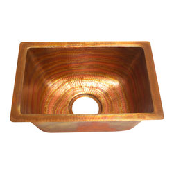 "Artesano Copper Sinks - Rectangular Bar Copper Sink - Undermount - Rectangular Bar Copper Sink - Undermount - 17 x 12 x 7"" - all hand made, all copper, all hammered, gauge 16, drain 3.5"""