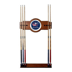 Trademark Global - Wall Billiard Cue Rack w NHL Columbus Blue Ja - Cue sticks not included. 8 Cue capacity. Furniture grade look. 2 pc. Medium oak veneered wood cue rack. 10 in. Dia. full color logo mirror. 30 in. L x 13 in. W x 4 in. H (15 lbs.)This National Hockey League Officially Licensed Wood/Mirror Wall Cue Rack will fit in the decor of your billiard room.