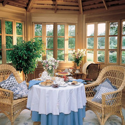 Screened Gardenhouse - The interior view of a 15' enclosed garden house, with removable upper divided light glass and lower panel inserts. What a wonderful breakfast nook, whether it is warm or not, you will enjoy the outdoors.