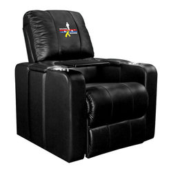 Dreamseat Inc. - Welcome Home Soldier Home Theater Plus Leather Recliner - Check out this awesome Leather Recliner. Quite simply, it's one of the coolest things we've ever seen. This is unbelievably comfortable - once you're in it, you won't want to get up. Features a zip-in-zip-out logo panel embroidered with 70,000 stitches. Converts from a solid color to custom-logo furniture in seconds - perfect for a shared or multi-purpose room. Root for several teams? Simply swap the panels out when the seasons change. This is a true statement piece that is perfect for your Man Cave, Game Room, basement or garage. It combines contemporary design with the ultimate comfort from a fully reclining frame with lumbar and full leg support.