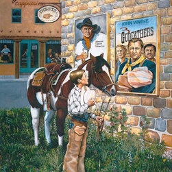 """J. Gordon Original - The Tradition Continues Artwork - Commemorative Fine Art Print depicting the 100th anniversary of the American Western. Featuring silent film actor Harry Carey Sr., John Wayne, Harry Carey Jr., and Pedro Armendáriz, with a young cowboy paying tribute to his heroes. This artist's work has been compared to Norman Rockwell. Each poster is signed by contemporary artist, J. Gordon and beloved, legendary actor, Harry Carey Jr., who appeared in more than 100 films: from Red River, to Gremlins, to Tombstone, as well as Disney's """"Spin and Marty"""" show."""